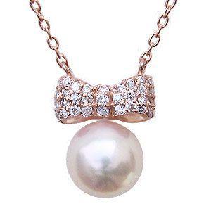 リボンモチーフ パール ペンダント ネックレス 本真珠 7mm ダイヤモンド 0.15ct K18 ピンクゴールド 冠婚葬祭|shinjunomori