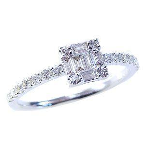 ダイヤモンドリング 婚約指輪 プラチナ エンゲージリング 指輪 ダイヤモンド 0.40ct バケットカット|shinjunomori