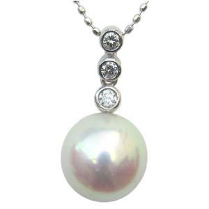 ネックレスペンダント あこや真珠 PT900 プラチナ ネックレス ダイヤモンド ジュエリー 冠婚葬祭|shinjunomori