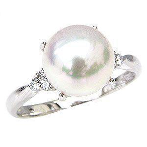 花珠真珠 パールリング 真珠指輪 あこや 花珠 パール 純プラチナ PT999 ダイヤモンド 0.10ct 冠婚葬祭|shinjunomori
