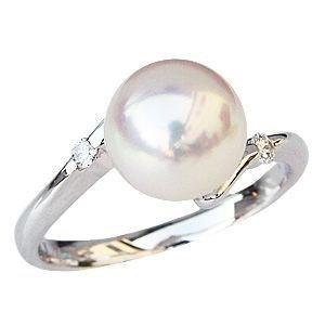 花珠真珠 パールリング 真珠指輪 あこや真珠 9mm パール 純プラチナ PT999 ダイヤモンド 0.08ct 冠婚葬祭|shinjunomori