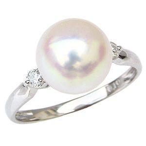 真珠の指輪 パール 指輪 リング 真珠 アコヤ真珠 あこや真珠 プラチナ 純プラチナ ダイヤモンド 40代 50代 60代 冠婚葬祭 9号|shinjunomori