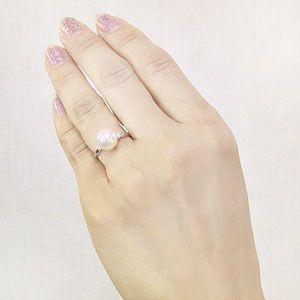 花珠パールリング 花珠真珠 指輪 アコヤ本真珠 9mm ダイヤモンド 0.10ct パール ホワイトピンク系 イエローゴールド K18 花珠真珠指輪 送料無料 冠婚葬祭|shinjunomori|05