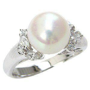 花珠真珠 パールリング 真珠指輪 純プラチナ PT999 あこや本真珠 大珠 9mm ダイヤモンド 0.26ct 冠婚葬祭|shinjunomori