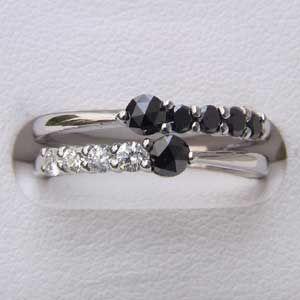 指輪ダイヤモンド 一粒 ブラックダイヤモンド リング K18WG ホワイトゴールド 指輪|shinjunomori