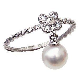 上品で優しい輝きを放つあこや本真珠。ピンクホワイト系のパールとダイヤモンドがキラッと輝くホワイトゴー...