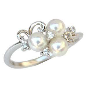 真珠 指輪 あこや本真珠 パール リング SVシルバー キュービックジルコニア 冠婚葬祭|shinjunomori