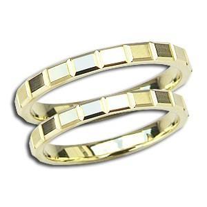ペアリング 結婚指輪 マリッジリング 地金リング シンプル 指輪 K18 ゴールド デザインカットリング プレゼント 記念日 shinjunomori