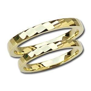 ペアリング 結婚指輪 マリッジ K18 ゴールド 地金 シンプル デザインカット 記念日 プレゼント 品質保証書付 専用ケース付 shinjunomori