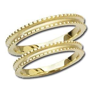 ペアリング プレゼント シンプル マリッジリング 結婚指輪 デザインカットリング 記念日 指輪 K18 ゴールド 地金リング shinjunomori