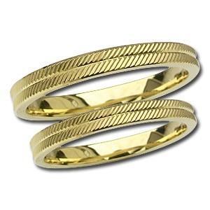 マリッジリング 記念日 ペアリング プレゼント シンプル 結婚指輪 デザインカットリング 指輪 K18 ゴールド 地金リング shinjunomori