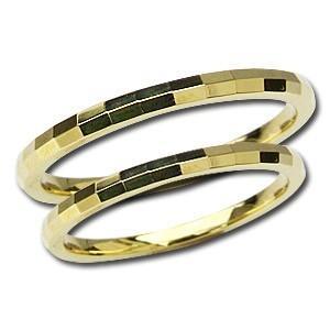 結婚指輪 マリッジリング ペアリング 指輪 シンプル デザインカットリング 記念日 プレゼント K18 ゴールド 地金リング shinjunomori