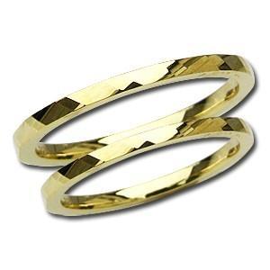 マリッジリング 結婚指輪 ペアリング シンプル デザインカットリング 記念日 プレゼント 指輪 K18 ゴールド 地金リング shinjunomori