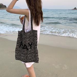 水玉ショルダーバッグ レディース シンプル 大容量 ハンドバッグ キャンパス hay01 ロゴ刺繍