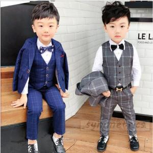韓国子供服 スーツ 卒業式 入学式 小学生 男の子 ジャケット パンツ ベスト 3点セット  チェッ...