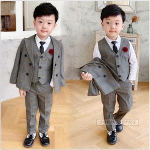 韓国子供服 スーツ 卒業式 入学式 小学生 男の子 ジャケット パンツ ベスト  3点セット   チ...