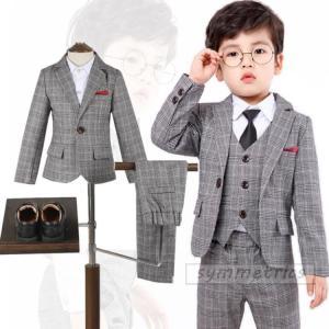 韓国子供服 スーツ 卒業式 入学式 小学生 男の子 ジャケット パンツ ベスト  3点セット  チェ...