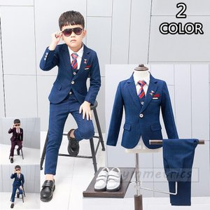 子供スーツ フォーマルウエア 男の子 スーツ フォーマルスーツ キッズスーツ ベビースーツ 4点セッ...
