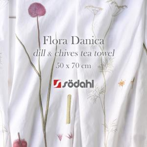 【Sodahl/ソダール】Flora Danica Tea Towel フローラダニカ ティータオル ディル チャイブ dill chives 植物 ボタニカル ファブリック ふきん|shinwashop