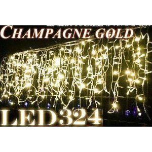 LED324球 つららイルミネーション シャンパンゴールド HG 【黒配線・ジョイントタイプ】|shioken