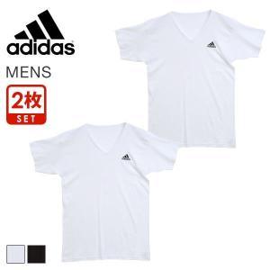 10%OFF【メール便(30)】 (アディダス)adidas ワンポイントロゴ 半袖 Tシャツ メンズ スポーツ 2枚組 Vネック 吸汗速乾|shirohato