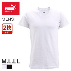 【メール便(25)】 (プーマ)PUMA メンズ 半袖 Tシャツ インナー Vネック 抗菌防臭 2枚セット M L LL|shirohato