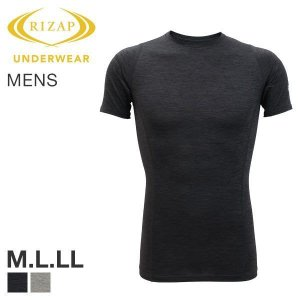 【メール便(15)】 (ライザップ)RIZAP MENS クルーネック 半袖 Tシャツ インナー ソフトコンプレッション 杢柄 吸汗速乾 メンズ|shirohato