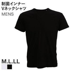 【メール便(8)】 半袖 Tシャツ インナー メンズ Vネック 吸汗速乾 制菌消臭 細菌99.9%カット nanofine加工|shirohato