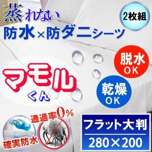 【2枚組】呼吸する さらっと 防水フラットシーツ大判 280x200cm 透湿性防水素材使用