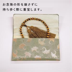 女性用片手念珠 虎目石 共仕立 正絹頭房 お念珠袋付き|shiroyamakagu|06