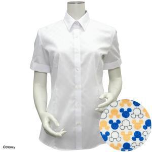 Disney ディズニー / 新体型 半袖 形態安定 レディースシャツ レギュラー衿 白×ドット織柄|shirt