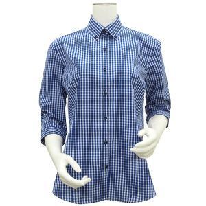 新体型 七分袖 形態安定 レディースシャツ ボタンダウン衿 白×ブルーチェック|shirt