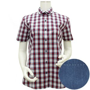 レディース ウィメンズシャツ 半袖 形態安定 ラウンド衿 白×エンジ、ブルーチェック|shirt
