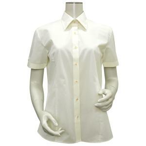半袖 形態安定 レディースシャツ レギュラー衿 クリームイエロー×織柄|shirt
