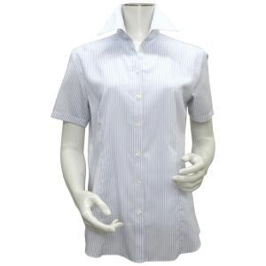 新体型 半袖 インナー付 形態安定 レディースシャツ スキッパー衿 白×ブルーストライプ|shirt