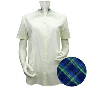 新体型 半袖 インナー付 形態安定 レディースシャツ クレリック スキッパー衿 ライトグリーン×白ストライプ|shirt