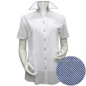 新体型 半袖 インナー付 形態安定 レディースシャツ スキッパー衿 白×織柄|shirt