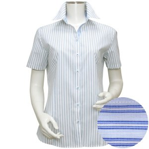 半袖 形態安定 レディースシャツ スキッパー衿 白×ブルー、グレーストライプ|shirt