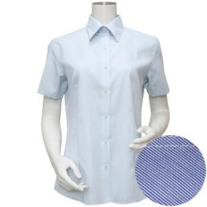 半袖 形態安定 レディースシャツ レギュラー衿 サックス×織柄|shirt