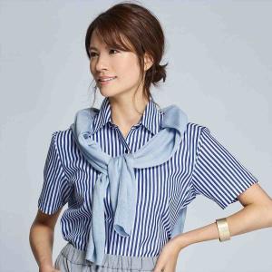 レディース ウィメンズシャツ 半袖 形態安定 レギュラー衿 白×ブルーストライプ|shirt