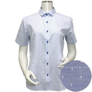 レディース ウィメンズシャツ 半袖 形態安定 ワイド衿 白×ブルー、グレーチェック|shirt