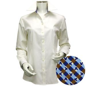 Disney ディズニー / 長袖 形態安定 レディース ウィメンズシャツ スキッパー衿 クリームイエロー×ドット、ミッキーシェイプ織柄|shirt