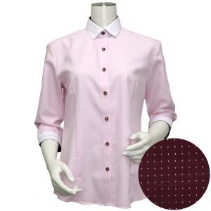 レディース ウィメンズシャツ 七分袖 形態安定 クレリック ワイド衿 ピンク×ストライプ織柄|shirt