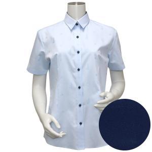 Disney ディズニー / レディース ウィメンズシャツ 半袖 形態安定 レギュラー衿 サックス×モチーフ織柄|shirt