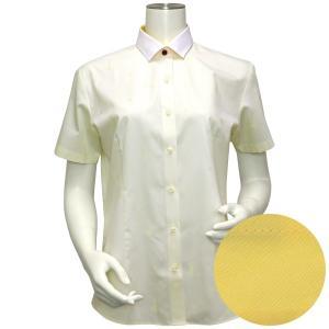 Disney ディズニー / レディース ウィメンズシャツ 半袖 形態安定 クレリック ワイド衿 クリームイエロー×モチーフ織柄 shirt