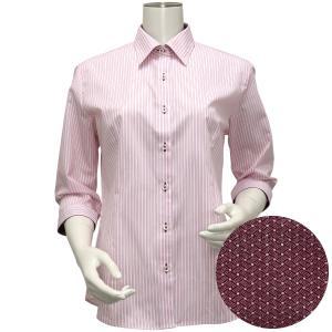 レディース ウィメンズシャツ 七分袖 形態安定 レギュラー衿 白×レッドストライプ|shirt