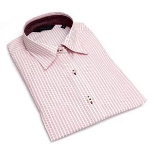 レディース ウィメンズシャツ 七分袖 形態安定 レギュラー衿 白×レッドストライプ|shirt|02