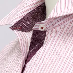 レディース ウィメンズシャツ 七分袖 形態安定 レギュラー衿 白×レッドストライプ|shirt|03