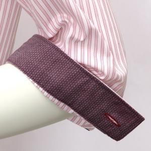 レディース ウィメンズシャツ 七分袖 形態安定 レギュラー衿 白×レッドストライプ|shirt|04