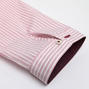 レディース ウィメンズシャツ 七分袖 形態安定 レギュラー衿 白×レッドストライプ|shirt|05